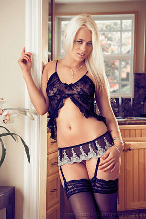 Rebecca Blue Petite Blonde Model Strips in Lingerie and Stockings